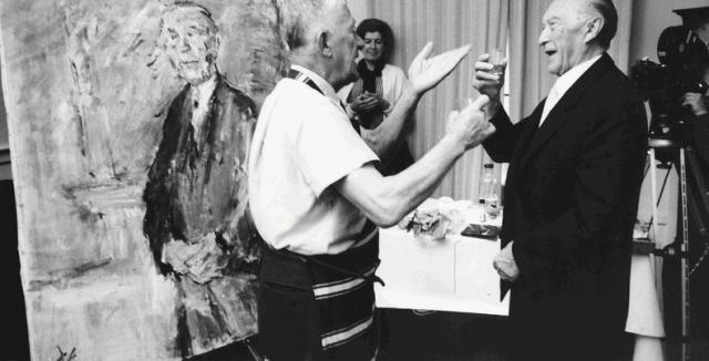 Oskar Kokoška i Konrad Adenauer, ispred Adenauerovog portreta