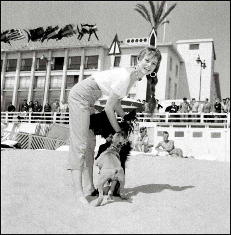 Undated picture of French actress Brigitte Bardot in Cannes during the Cannes film festival. Photo non datée de l'actrice française Brigitte Bardot posant pour les photographes sur la plage de Cannes. / AFP PHOTO / ARCHIVES