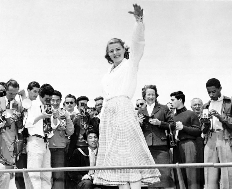 FILE - In this May 16, 1956 file photo Ingrid Bergman is snapped from all sides by a crowd of photographers at Cannes, France. The Cannes Film Festival officially gets underway on Wednesday, May 11, 2016 and as usual it's set to be one of the most dazzling events in the European entertainment calendar. The festival, in its 69th year, brings a mix of Hollywood A-listers and world cinema auteurs to the French Riviera. (AP Photo, File)