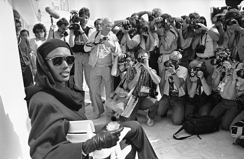 FILE - In this May 13, 1986 file photo, singer Grace Jones is photographed in Cannes, France during the the 39th film festival. The Cannes Film Festival officially gets underway on Wednesday, May 11, 2016 and as usual it's set to be one of the most dazzling events in the European entertainment calendar. The festival, in its 69th year, brings a mix of Hollywood A-listers and world cinema auteurs to the French Riviera.(AP Photo, File)